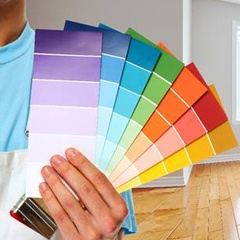 man holding color swatches