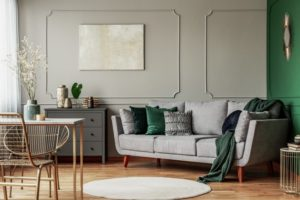 dark green and gray living room