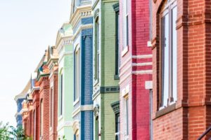 painted brick townhomes