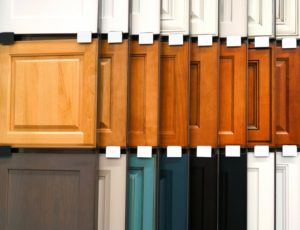 samples of painted and stained kitchen cabinets